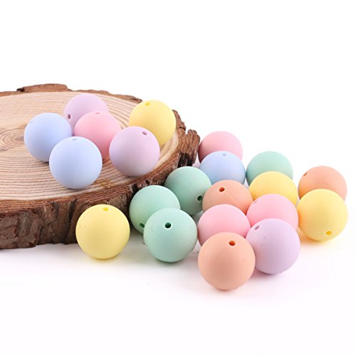 baby tete Perles de silicone Ensemble de couleur Candy Color 20mm/50pcs Teether pour bébé Accessoires Diy Pendentif Collier pour bébé Pendentifs Chewing Chewing