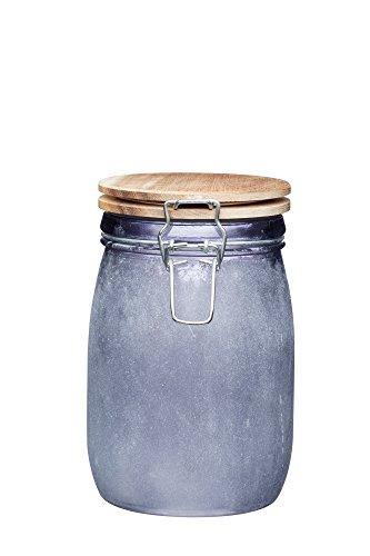 KitchenCraft Industrial Kitchen MittelgroßeGlas-Frischhaltedose mit luftdichtem Holzdeckel, 1 L (1,75 Pints) -Beton-Finish, grau, 12.5 x 11 x 17 cm