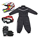 Leopard LEO-X18 Skull Kids Motocross Helmet L(53-54cm) & Gloves L(7cm) & Goggles + Children Kids Motorbike Race Suit M(7-8Yrs)