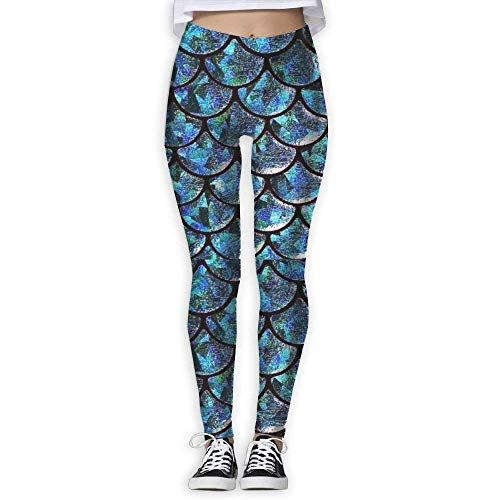 Deglogse Yogahosen, Trainingsgamaschen,Turquoise Blue Mermaid Tail Patterns Womens Full-Length Sports Running Yoga Workout Leggings Pants Stretchable (Leggings Tail Mermaid)
