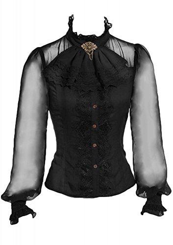 RQ-BL Viktorianische Langarm-Bluse Schwarz mit Jabot und Brosche (SP180) Steampunk Rüschen, Größe:XXL (Bluse Viktorianische Rüschen)
