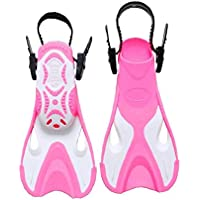 fedsjuihyg Swim Flippers Short Floating Training Swim Fins For Kids 1-4 US Size Thermoplastic Rubber Pool Fins For Swimming Diving Scuba Snorkeling Water Sports – Color Pink