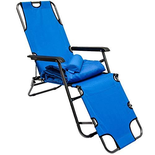 AMANKA Campingstuhl 178x60cm Liegestuhl Sonnenliege Strandliege Campingliege Klappliege Liege Blau