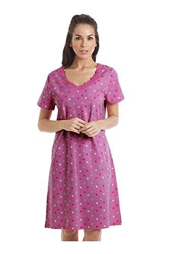 Camille Chemises de Nuit d'été en Coton Doux et Multicolore 38/40 Pink Sta