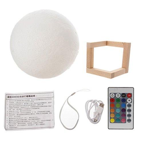 Wanfor 3D Druck Mond LED Nacht Licht 16 Farben, Mondschein Schreibtisch Lampe USB Rechargable mit Touch, Dimmbar Remote Control Helligkeit für Schlafzimmer (Remote Control-bild-licht)