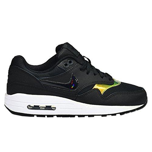 Nike Air Max 1 (Gs), Baskets Basses mixte enfant Noir/blanc