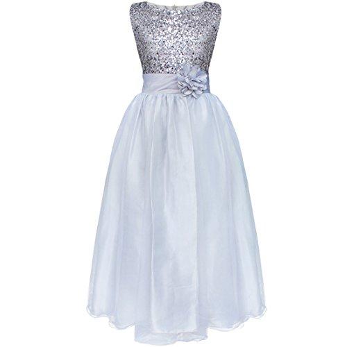 Tiaobug Kinder Mädchen Prinzessin Kleid Pailletten Kleid Festlich Blumen Kleid Hochzeit Festzug Gr.98-164 Silber 158-164