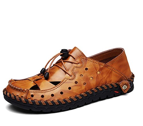 Männer Leder Sandalen Bootsschuhe Loafer Flats Block Open Toe Flat Schuhe Hollow Lace-up Sicherheitsschuhe / Stiefel ( Color : Brown , Size : 44 ) (Leder Block-echtes Color)