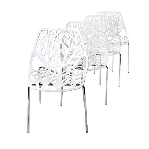 Garten Esszimmer Möbel (Makika Retro Stuhl Design Stuhl Esszimmerstühle Bürostuhl Wohnzimmerstühle Lounge Küchenstuhl Sitzgruppe 4er Set aus Kunststoff mit Rückenlehne CALUNA in Weiß)
