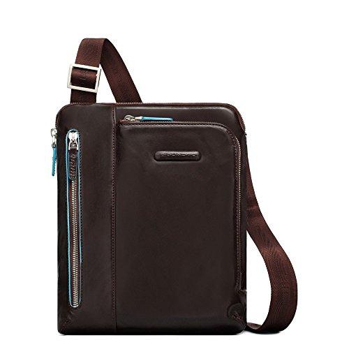 Borsello PIQUADRO MOGANO porta iPad/iPad Air doppia tasca frontale tasca lettore mp3 passante per auricolari Blue Square 21,5x24,5x5cm borsello uomo tracolla regolabile PERSONALIZZABILE CON INCISIONE