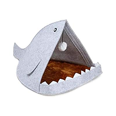 Yangyme Pet home Pet Shark-Shaped Disassemble Washable Felt Fabric Pet Bed For Cat Dog - White, Blue from Yangyme
