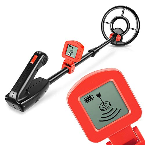 Viewee Junior Leichtgewicht Metalldetektor mit wasserdichter Suchspule & LCD Display Metallsuchgerät Akustisches und visuelles Signal [mit Schaufel] Geschenk für Kinder