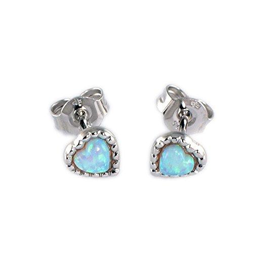 ASS 925 orecchini Donna Bambini Orecchini a forma di cuore con cuore spina. Opal