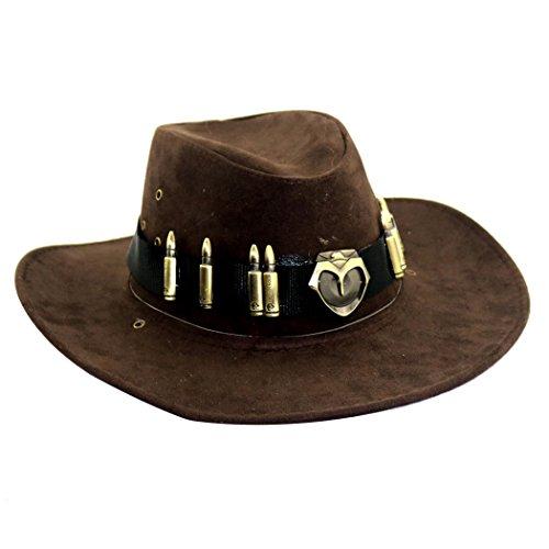 l Country Cowboy Hut Herren Western Cowboy Hut Breiter Krempe Hut mit Abzeichen (Country Und Western Kostüme Zu)