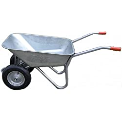 mit Titel '' D&F Brouette pour le jardin, la construction et l'écurie avec la jante en acier, entièrement galvanisée, enduite de poudre (deux roues 100L) ''