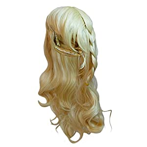 Katara - Peluca de Princesa Elsa de Frozen, accesorio de disfraz de carnaval - color dorado, 35cm-50cm