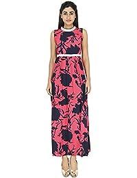 LondonHouze Embellished Printed Maxi Dress Coral