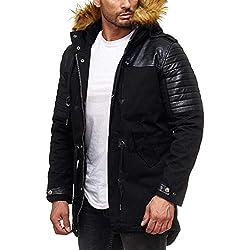 Redbridge Hommes Long Hiver Manteau Veste col de Fourrure Blouson Simili Cuir Nervuré Jackets