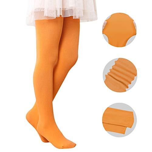 Azue Mädchen Strumpfhosen Tanz Strumpfhosen Ballett Feinstrumpfhose mit Fuß Orange M(Höhe 90-110cm/3-6 Jahre)