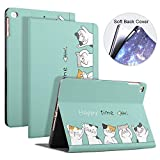 Custodia per iPad 10.2 2019 con Motivo a Simpatico Cartone Animato, Custodia Protettiva Magnetica in Silicone per iPad Smart Sleep/Wake per Apple di 7a Generazione,Happytime