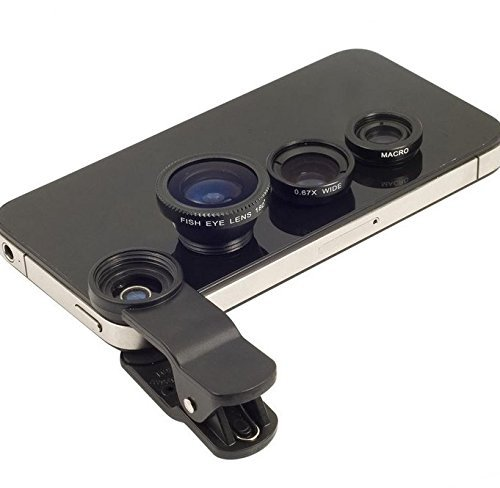 ProElite Universal Clip Type 3 in 1 Fish eye, Wide Angle & Macro Lens for Mobile Phone iPhone 4S 5 5S 6 Plus Samsung Galaxy HTC