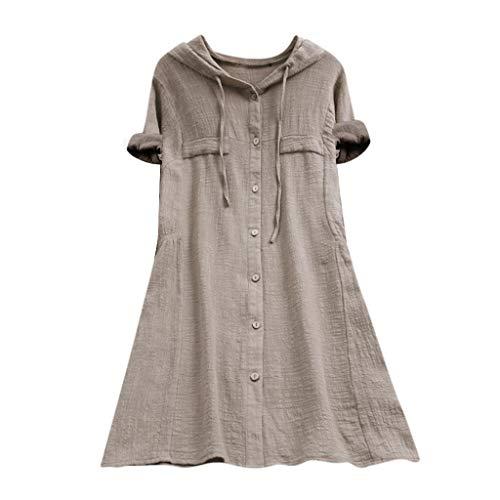 Zegeey Damen Kurzarm Oberteil T-Shirt Rundhals Ausschnitt Baumwolle Und Leinen Cat Drucken Asymmetrischer Saum Lose LäSsige Bluse Hemd Shirt Blusen Locker Basic Tops(B1-Beige,XL) -