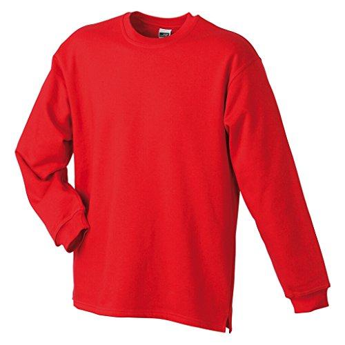 JAMES & NICHOLSON Sweatshirt mit Rundhalsausschnitt Red