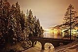 Leinwand-Bild 140 x 90 cm: 'Nachtaufnahme am Davoser See ? Schweiz', Bild auf Leinwand