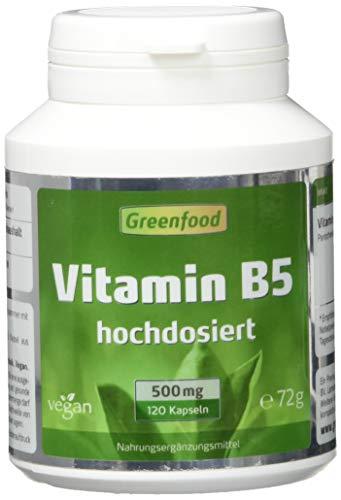 Vitamin B5 (Pantothensäure), 500 mg, hochdosiert, 120 Vegi-Kapseln – für geistige Leistungsfähigkeit. Wichtiger Beauty-Faktor. OHNE künstliche Zusätze. Ohne Gentechnik. Vegan.