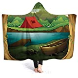 Photo de YOWAKi Ultra-Soft Micro Fleece Soft and Warm Throw Hooded Blanket,Camping,Idyllic Nature Scene of a Deep Forest with Lake and Mountains Cartoon Woodland,50