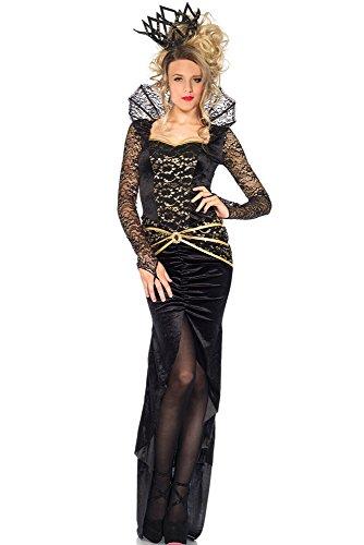 Damen Sexy Schwarz Samt Lange Ärmel Deluxe Evil Queen Halloween Party Fischnetz Kostüm Outfit Einheitsgröße (Queen Sexy Outfit)