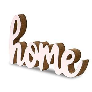levandeo Schriftzug Home L20cm Pastell Rosa Holz Tischdeko Deko Aufsteller Wohndeko