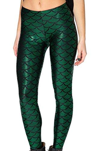 Pantalon Crayon Femme - BienBien Sexy Legging Simili Cuir Slim Imprimé Taille Haute Elastique Ete pour Danse Fitness Running Vert Foncé