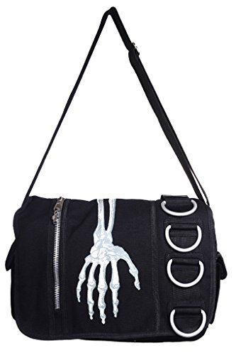 Gebannt Skeleton Hand Messenger Bag - Black / One Size (Applique Verstellbare Träger)