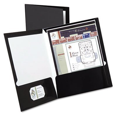 Oxford : High Gloss Laminated Paperboard Folder, 100-Sheet Capacity, Black -:- Sold as 2 Packs of - 25 - / - Total of 50 Each by Oxford Black High Gloss Oxford