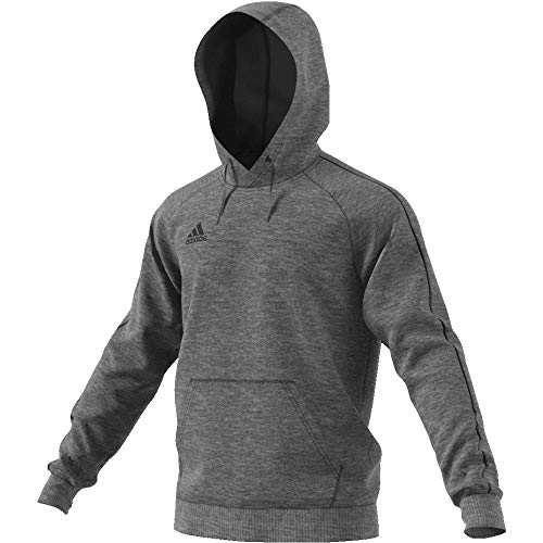 adidas Herren Core 18 Hoodie, Dark Grey Heather/Black, M