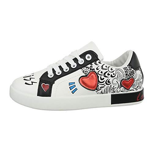 Ital-Design Damenschuhe Freizeitschuhe Sneakers Low Synthetik Weiß Schwarz Gr. 36