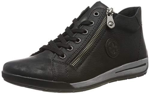 Rieker Damen M3044-90 Hohe Sneaker, Schwarz (Schwarz-Metallic/Schwarz/Schwarz 90), 42 EU