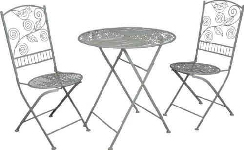 Casa Padrino Jugendstil Gartenmöbel Set - Bistro Set - 1 Tisch mit 2 Stühlen Model Palermo - Antikweiss