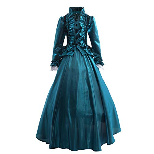 021928bb856e6 GRACEART Womens Medieval Victorian Fancy Dresses with Crinoline Palace  Royal Masquerade Vintage Costume (L, Green)