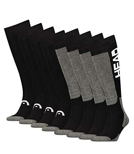 213 Bekleidung (HEAD Unisex Skistrümpfe Skisocken Thermokniestrümpfe Kneehigh 781003001 4 Paar, Farbe:Schwarz, Menge:4 Paar (2x 2er Pack), Größe:35/38, Artikel:-213 black/white)