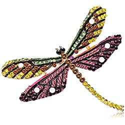 qiuxiaoaa Libélula Broche Insecto Colorido Encantos de La Joyería Insignia Banquete Bufanda Pins