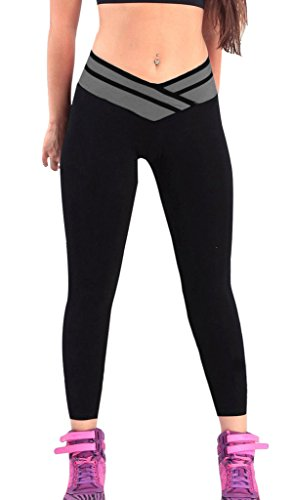 4How® Pantalons longs Femme Sport leggings strech YOGA Collants, Noir&Gris, Taille S