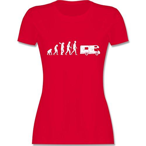 Evolution - Evolution Camper Weiß - Damen T-Shirt Rundhals Rot
