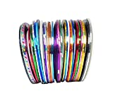 HSDDA 30 couleurs mixte ongles autocollant ligne or et argent ligne de bijoux à ongles rayure ligne de décoration d'art de clou (coloré)...