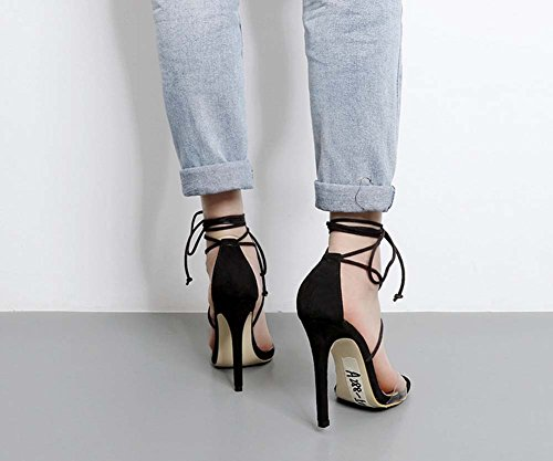 L&Y Le donne delle cinghie della caviglia apre le punte della punta del piede del tallone anello dei pattini high-heeled Sandali femminili freddi Nero
