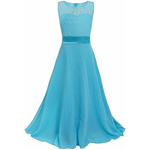 iEFiEL Vestido de Ceremonia Largo Princesa Chicas Vestidos de Encaje para Niñas