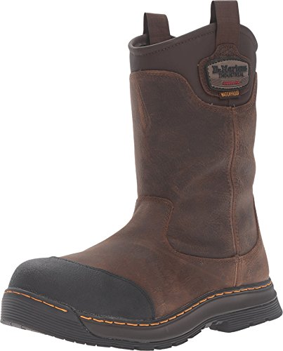Dr. Martens Men's Rush Eh St Rigger Work Boots, Brown, Leather, Rubber, 13 M UK, 14 M US Industrial Rigger Boot