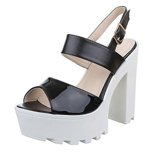 Damen Schuhe, F69, SANDALETTEN HIGH HEELS PUMPS Schwarz