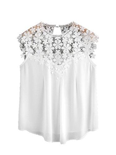 Romwe Damen Elegant Ärmellos Chiffon Bluse mit Blumen Spitze Shirt Oberteil Bluse Weiß M